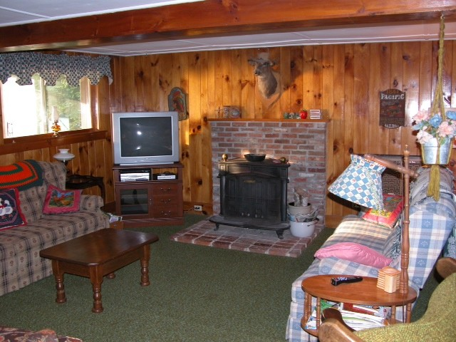 Living room of red cottage with wood clad walls and fireflace