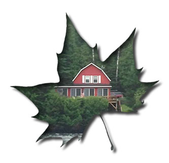 Leaf design with picture of red cottage inside