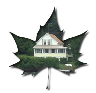 Leaf design with picture of white cottage inside