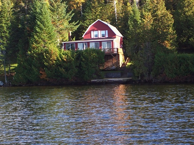 Red cottage as seen from the water
