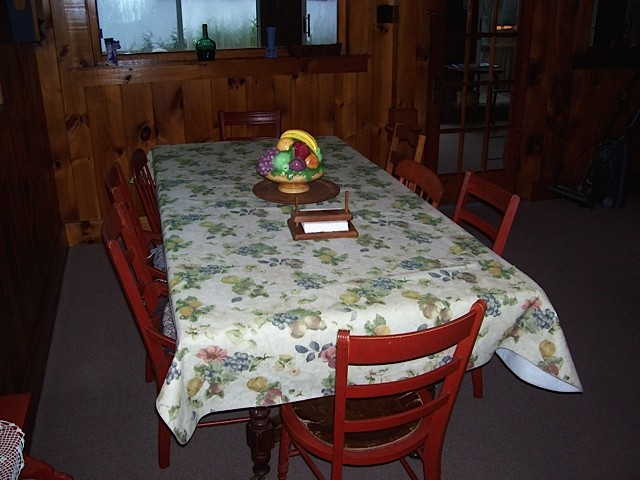Long dining table in the red cottage